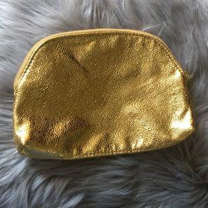 Vintage metallic gold zip pouch